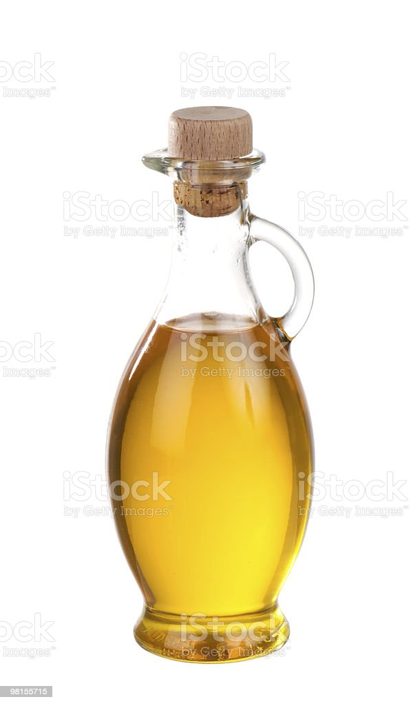 Olive Oil In Bottle Isolated stock photo