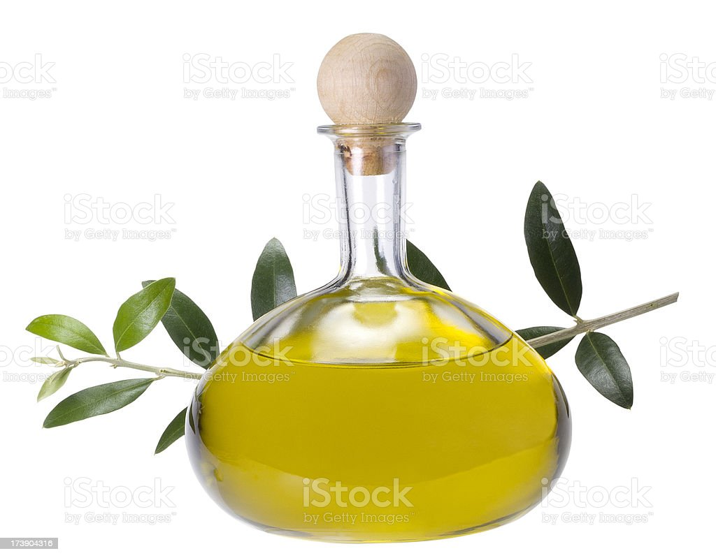 Olive oil in bottle (clipping path) royalty-free stock photo