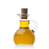 Olive oil in closed glass bottle
