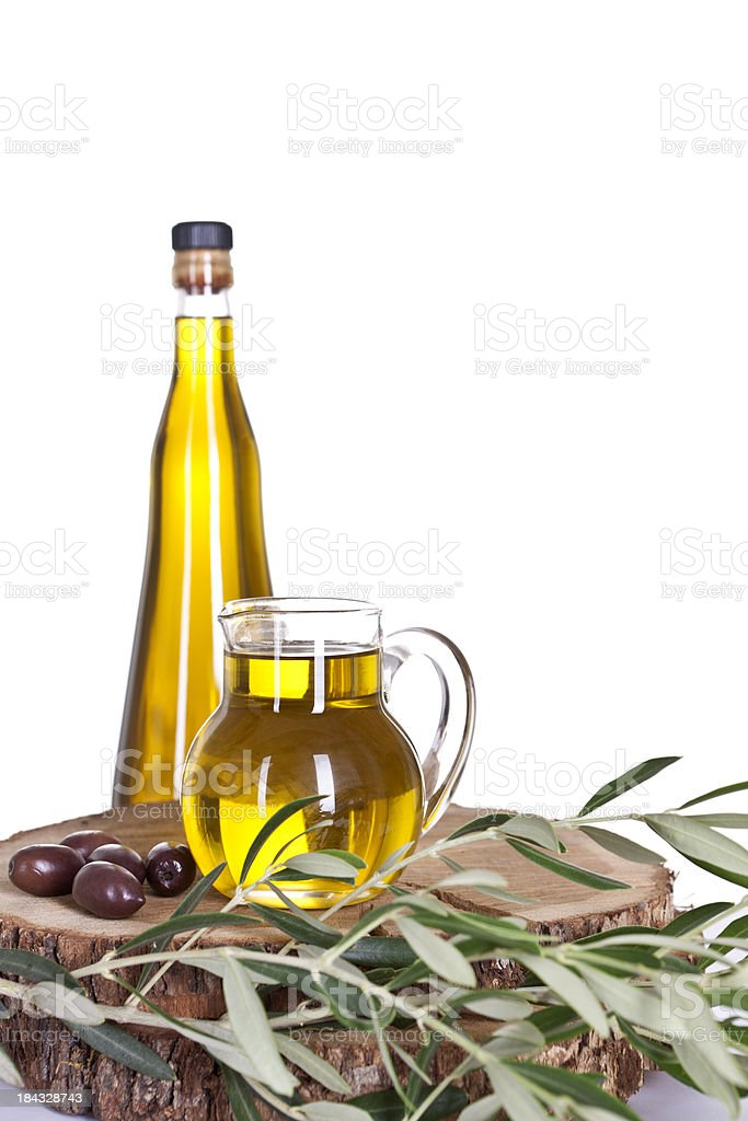 Olive Oil  in Jug, Bottle and Olives stock photo