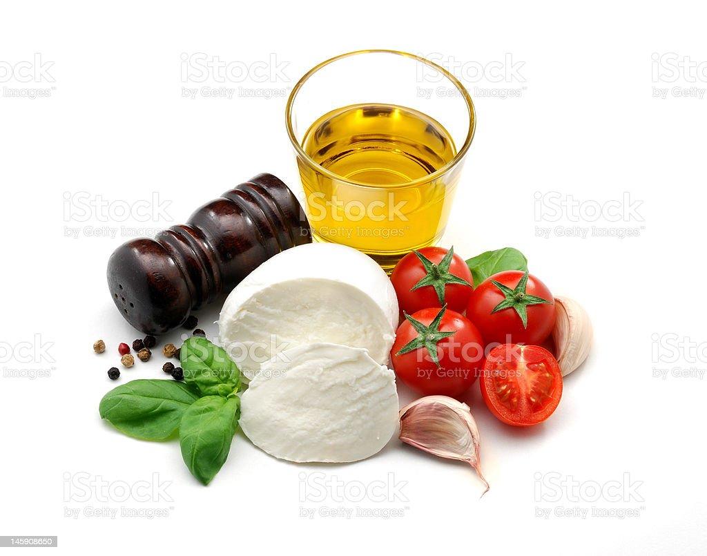 Olive oil, mozzarella and tomatoes royalty-free stock photo