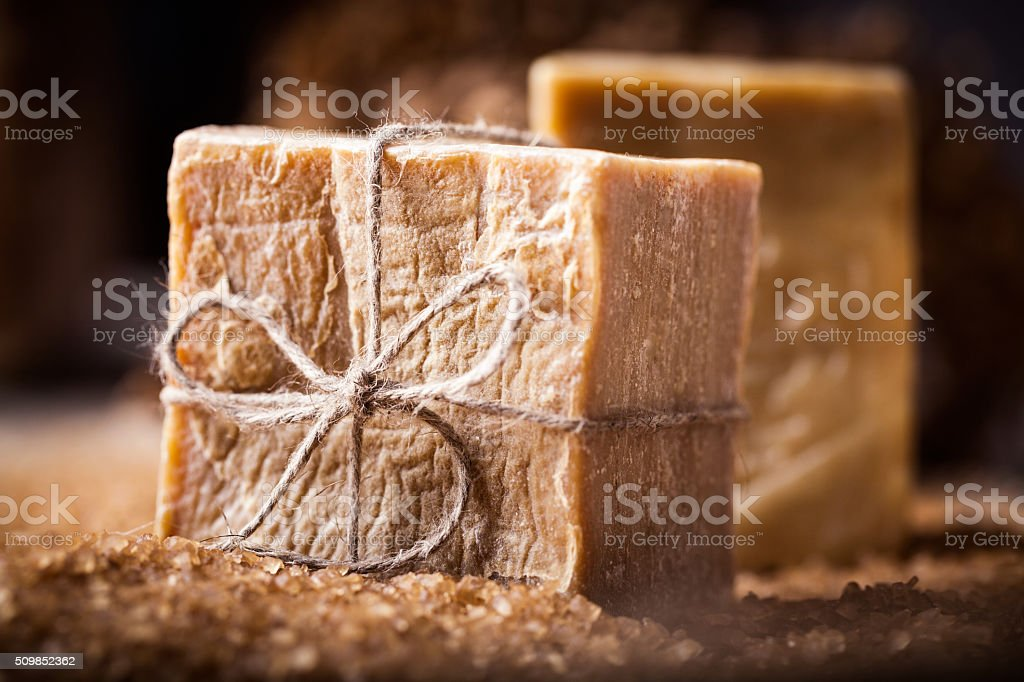 Olive oil soap from Aleppo. stock photo