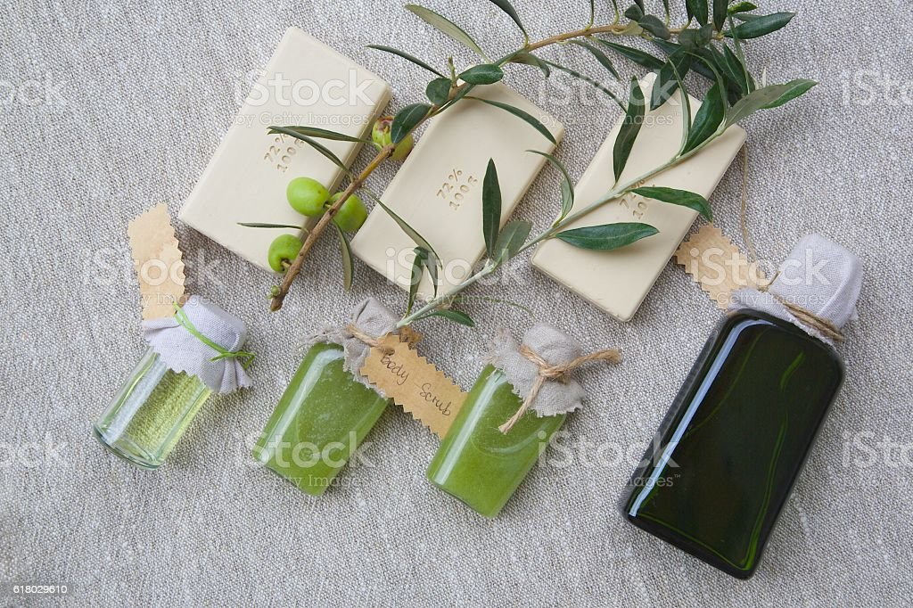 Olive oil spa products stock photo