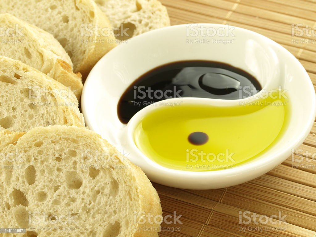 Olive oil with baguette royalty-free stock photo