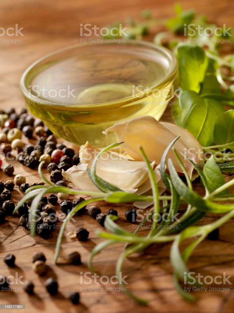 Olive Oil with Fresh Herbs royalty-free stock photo