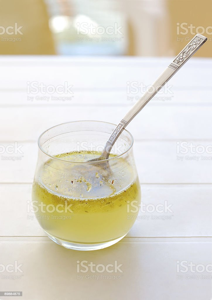 Olive Oil with lemon juice and origano stock photo