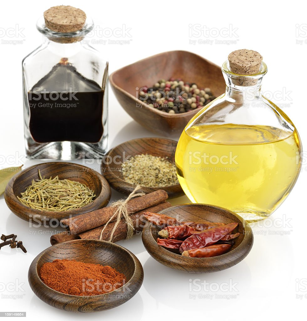 Olive Oil,Vinegar And Spices royalty-free stock photo