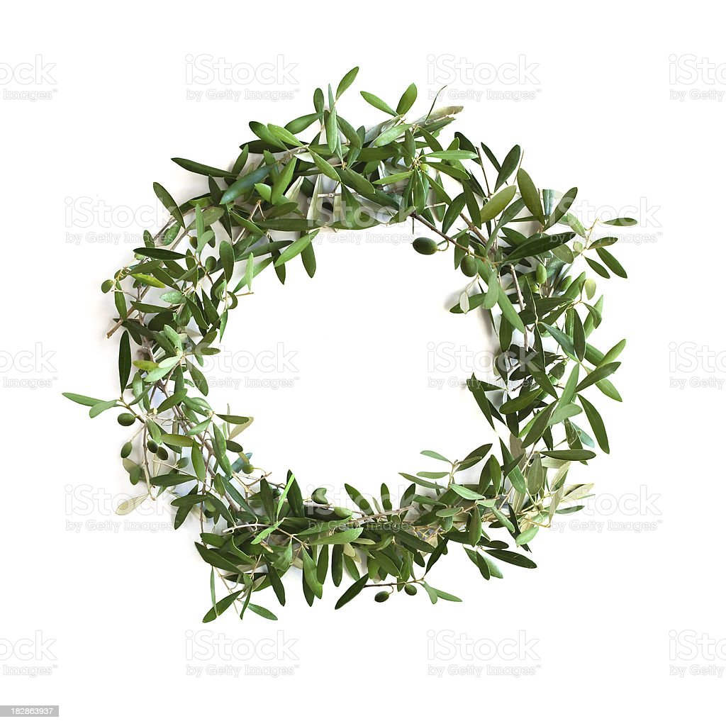 Olive tree branch wreath royalty-free stock photo