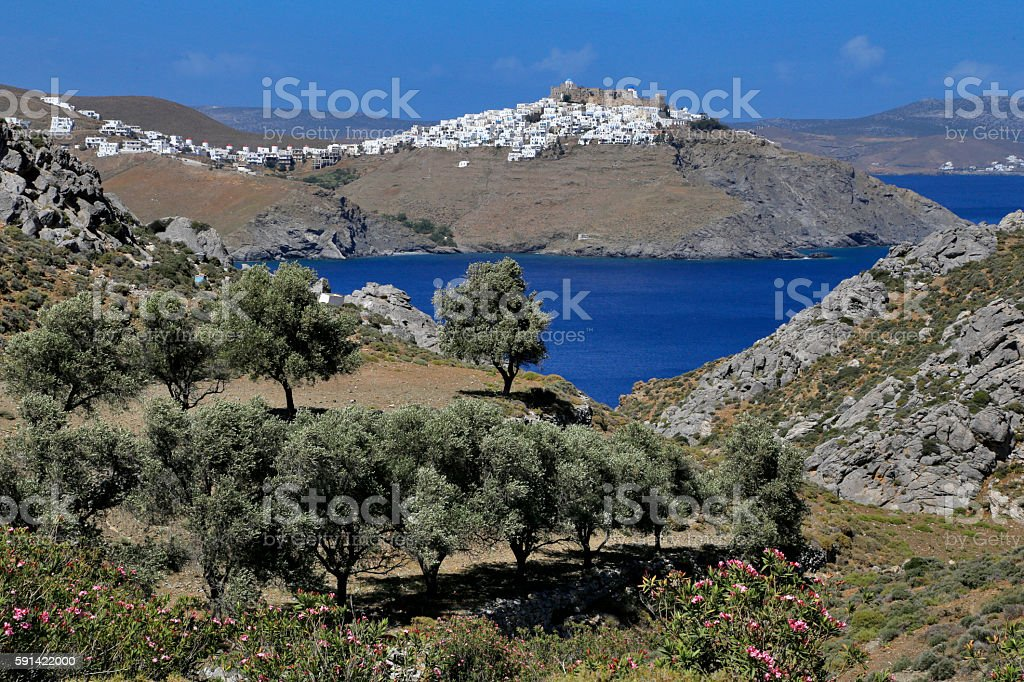 Olive trees and peaceful view on the Astypalaia Island. stock photo