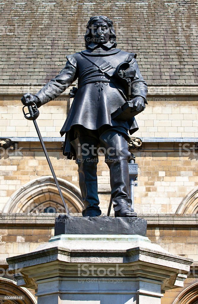 Oliver Cromwell Statue in London stock photo
