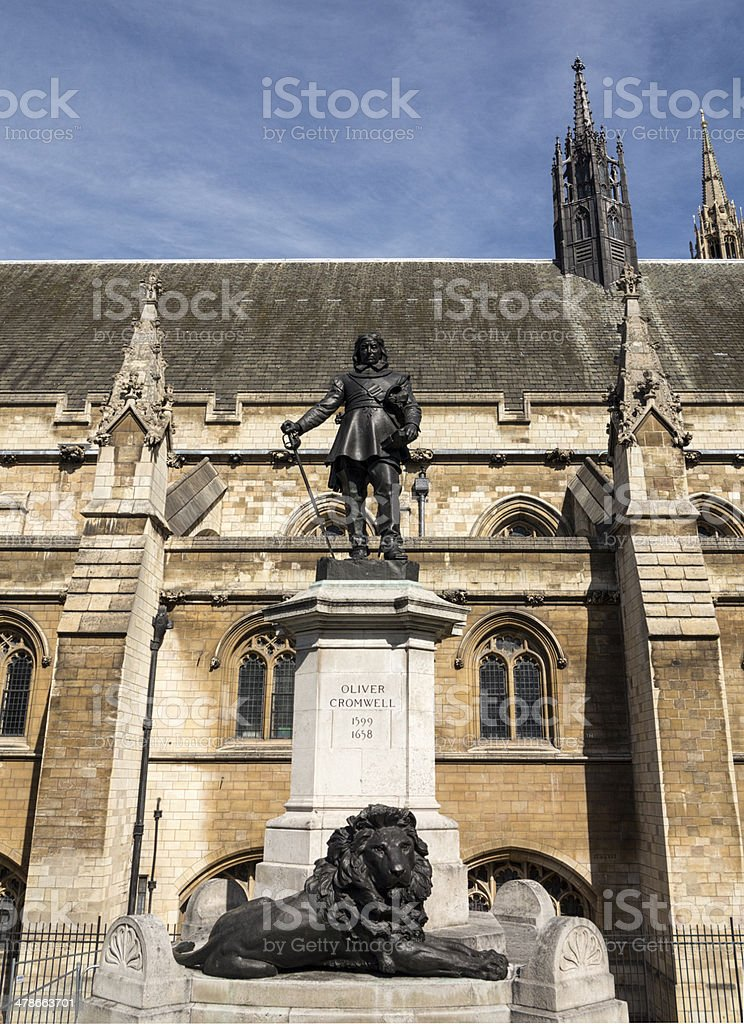 Oliver Cromwell Statue, London stock photo