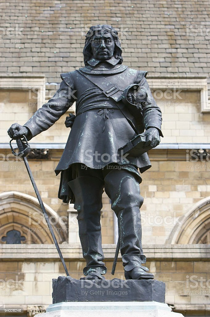 Oliver Cromwell Statue outside the Houses of Parliament, London stock photo
