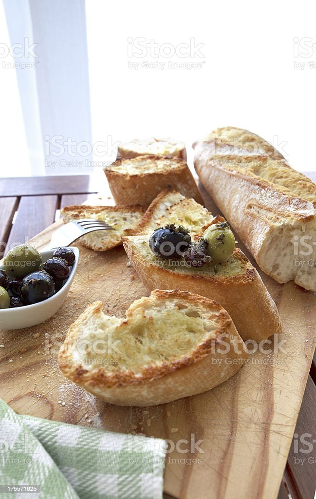 Olives and bread royalty-free stock photo