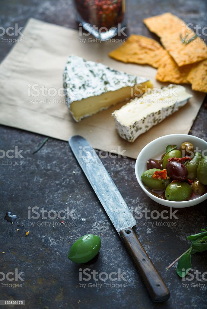 Olives and Brie Cheese stock photo