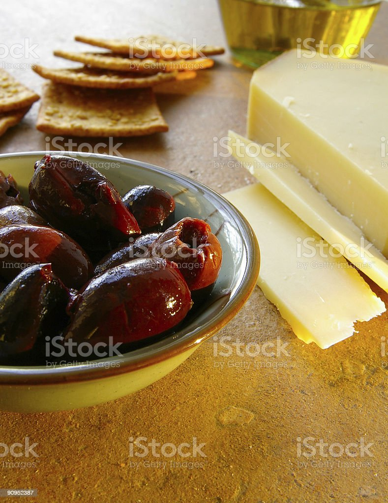 Olives and cheese royalty-free stock photo
