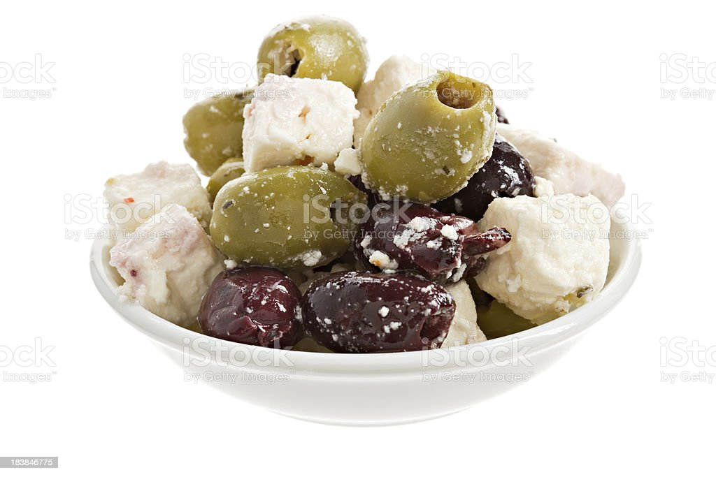 Olives and Feta Cheese Antipasto royalty-free stock photo