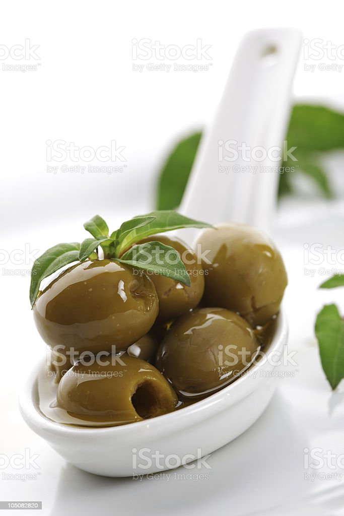 Olives and olive oil royalty-free stock photo