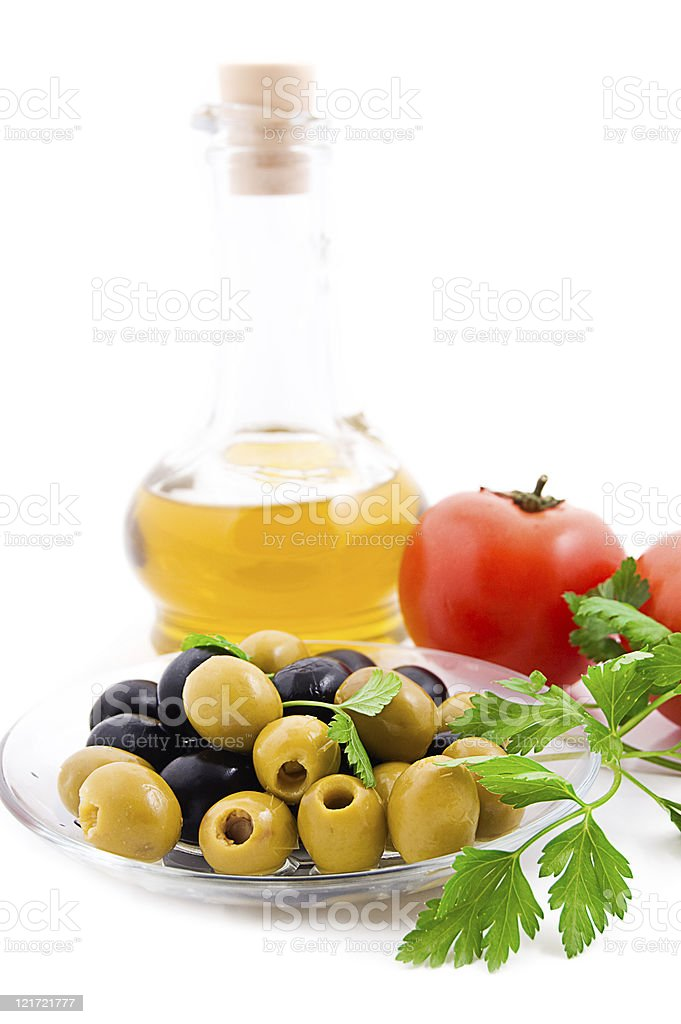 Olives and tomatoes royalty-free stock photo