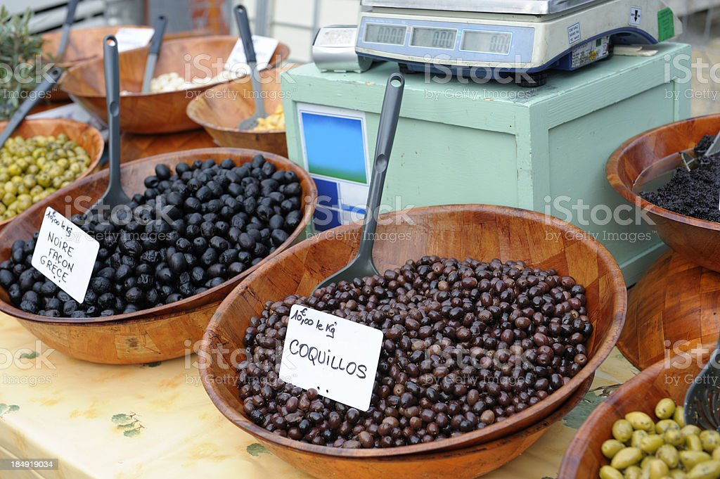 Olives at a street market royalty-free stock photo