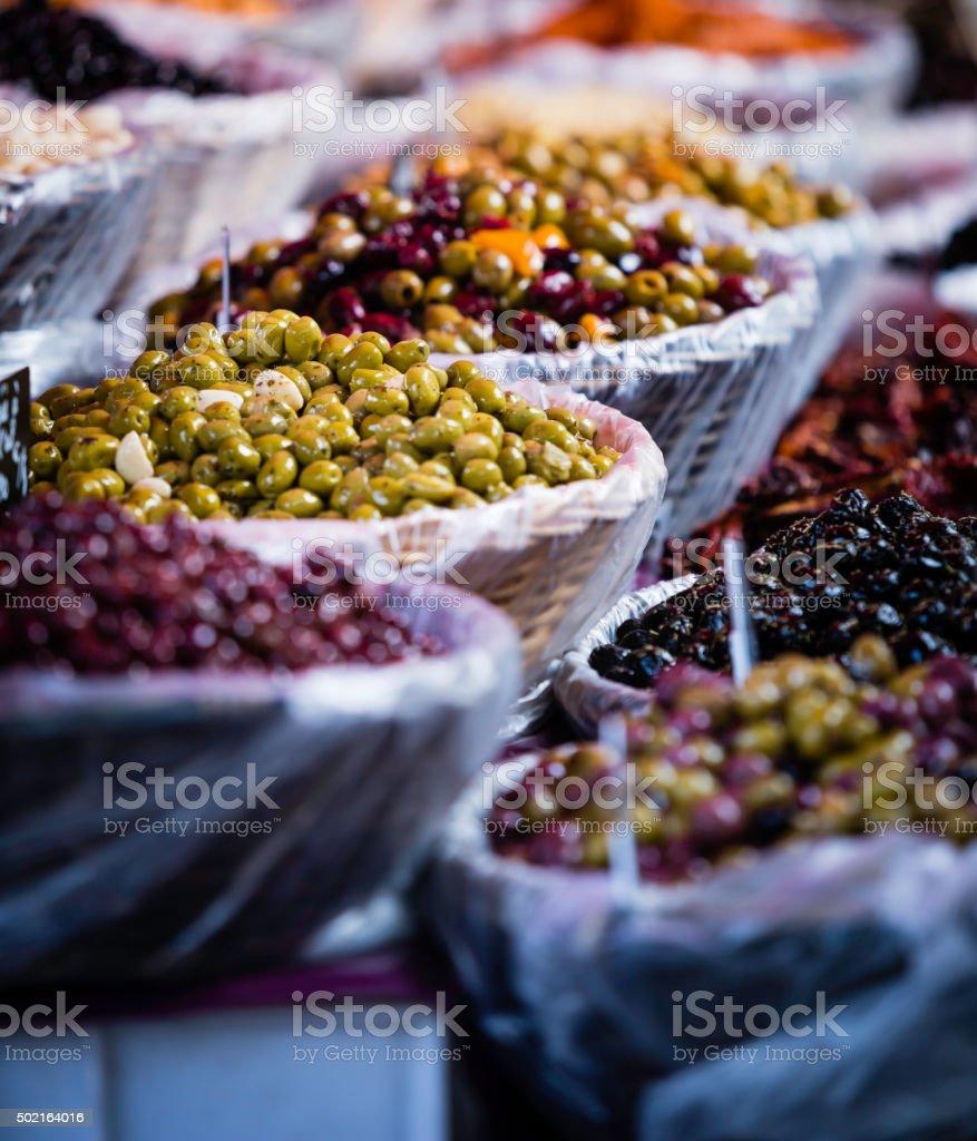 olives at the market stock photo