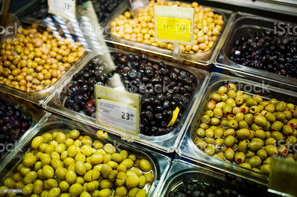 Olives for Sale in Supermarket. Izmir, Turkey stock photo