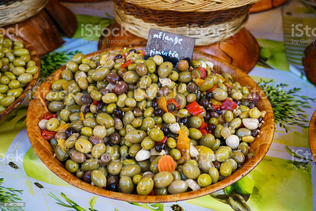 Olives for sale stock photo