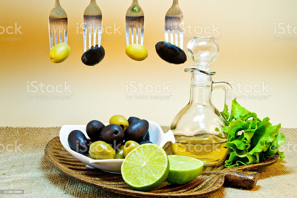 Olives green and black stock photo