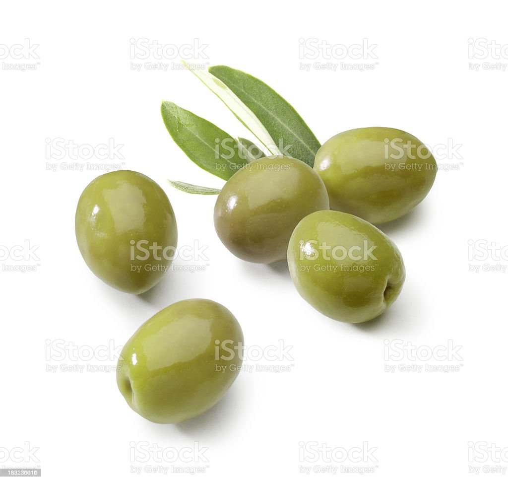 Olives green with Leafs stock photo