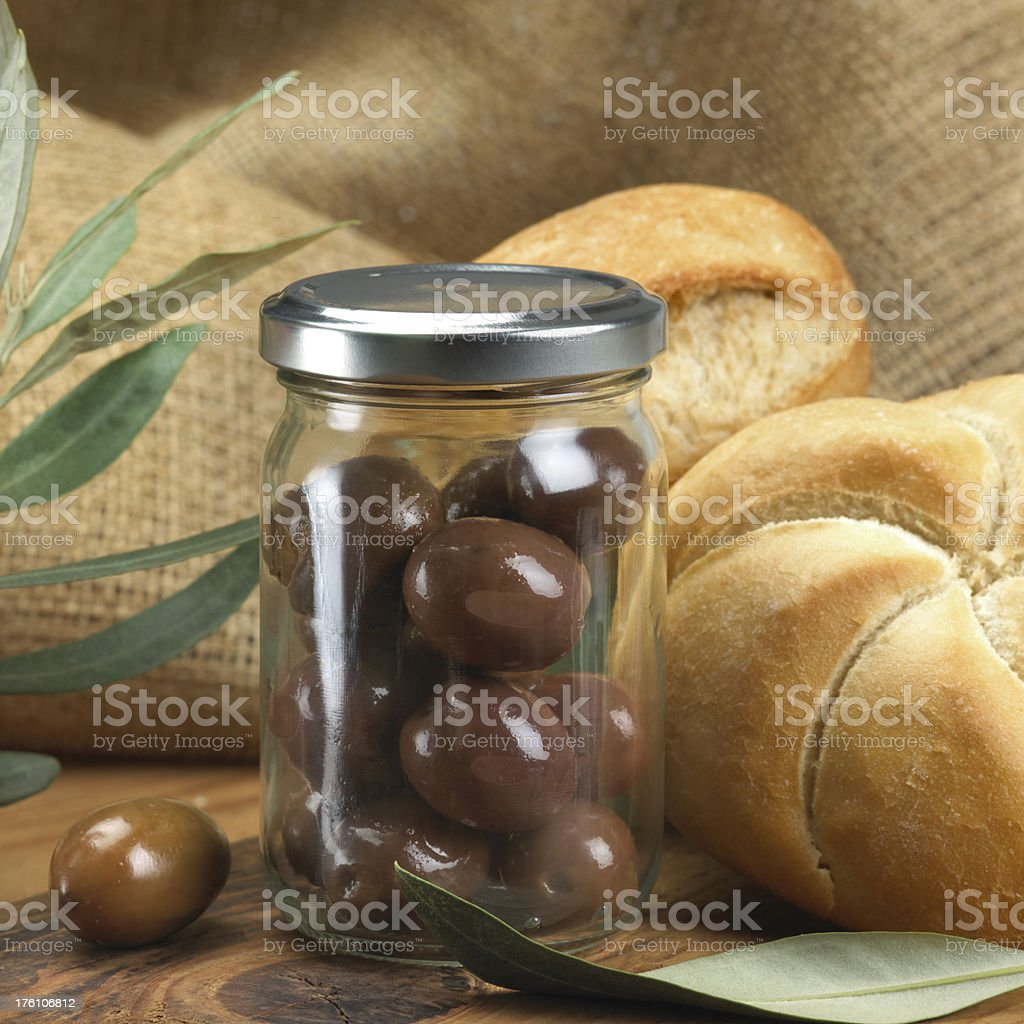 Olives in a jar royalty-free stock photo