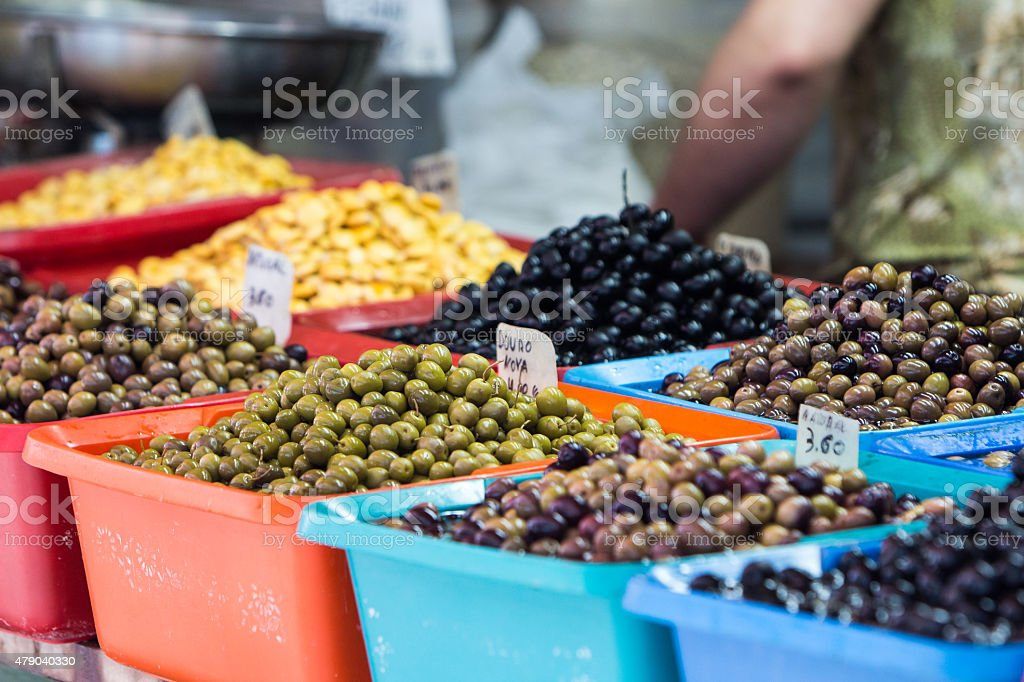 Olives in market stock photo