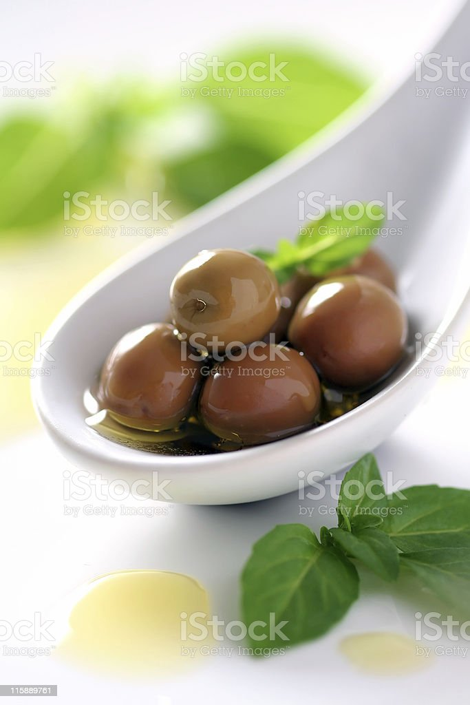 Olives in Spoon stock photo