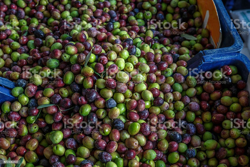 olives in the market stock photo