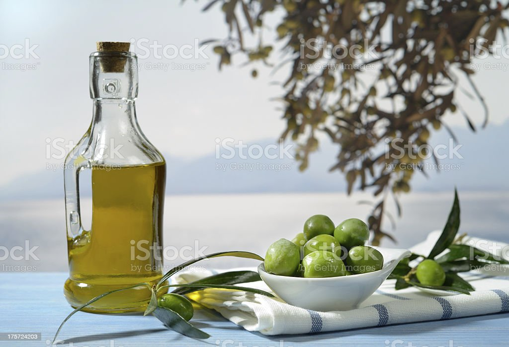 Olives, olive branch and olive oil stock photo