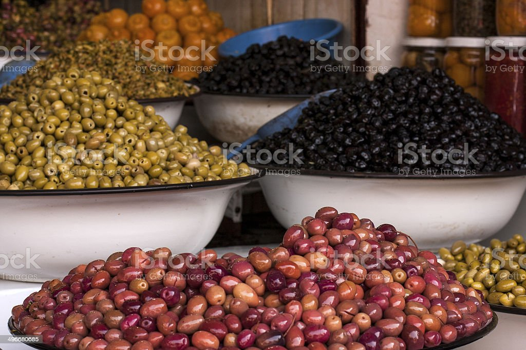 Olives on a Marrakesh market in Morocco, Africa stock photo