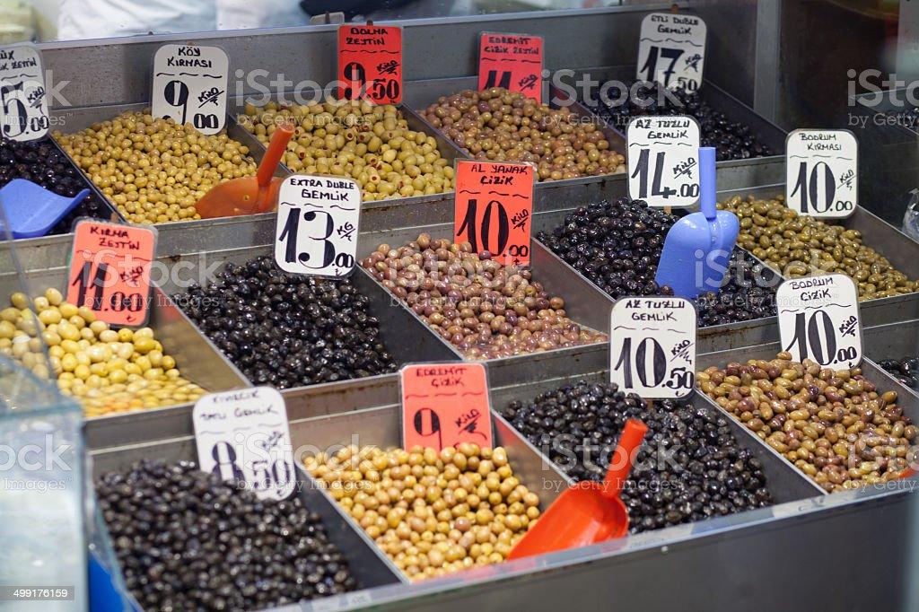 olives on green market stock photo