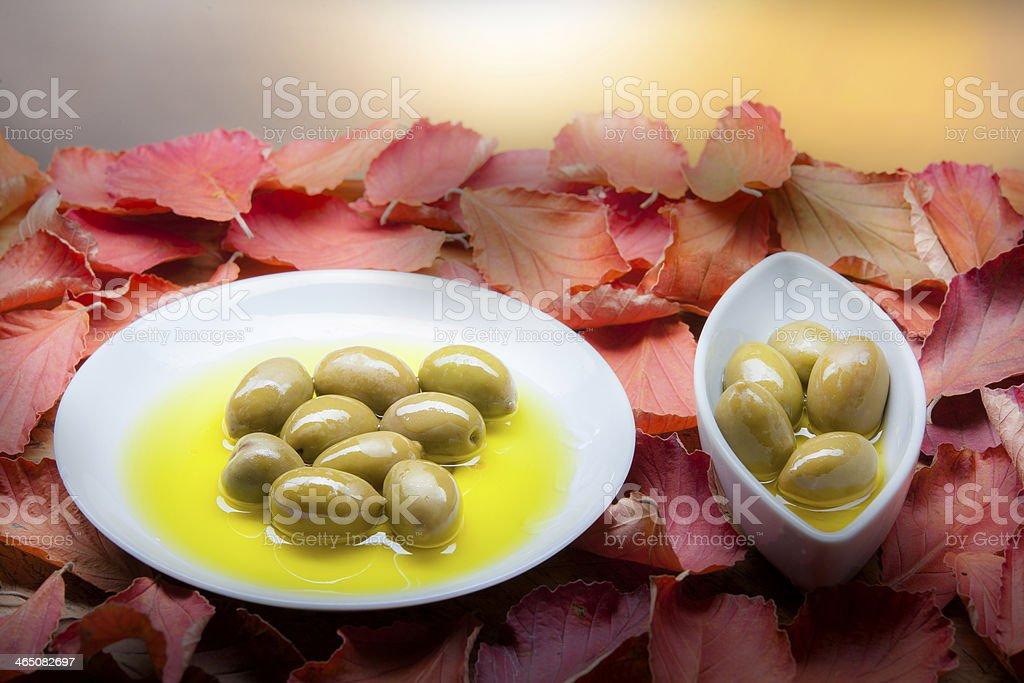 olives on plates stock photo