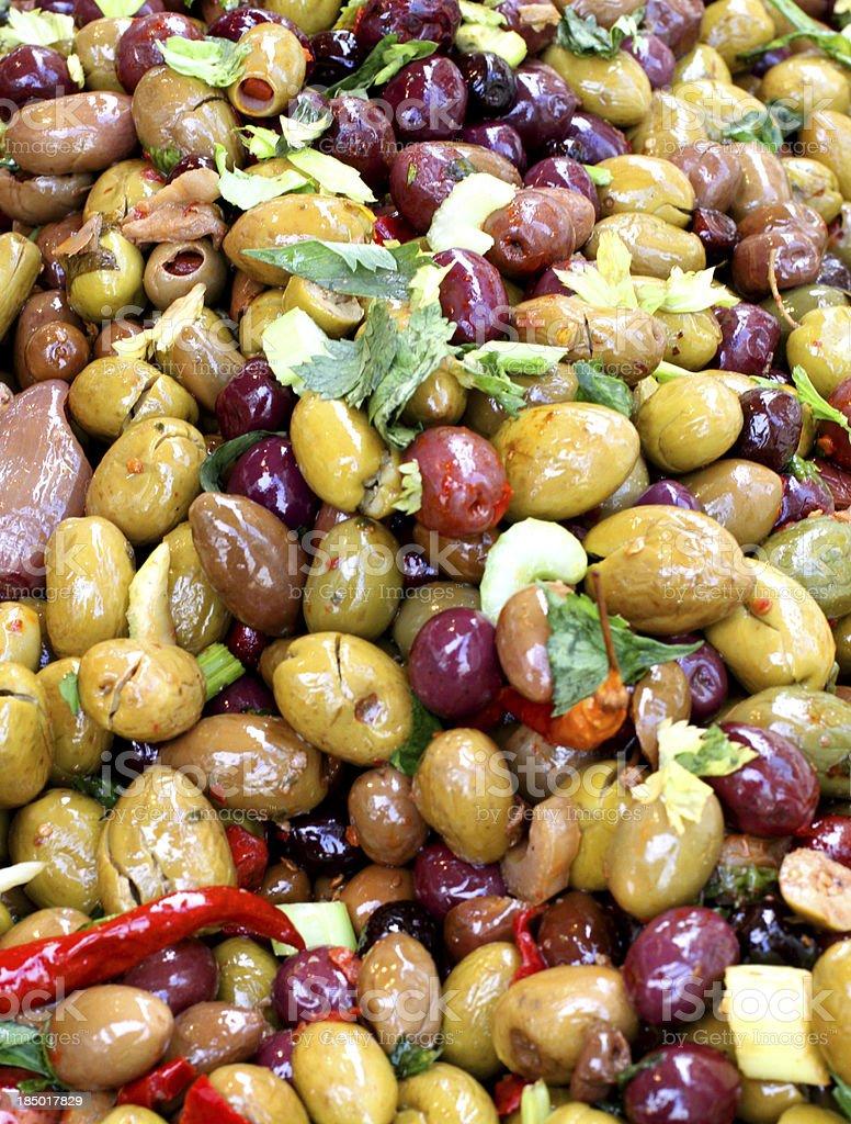 olives salad dress on sale at vegetable market royalty-free stock photo