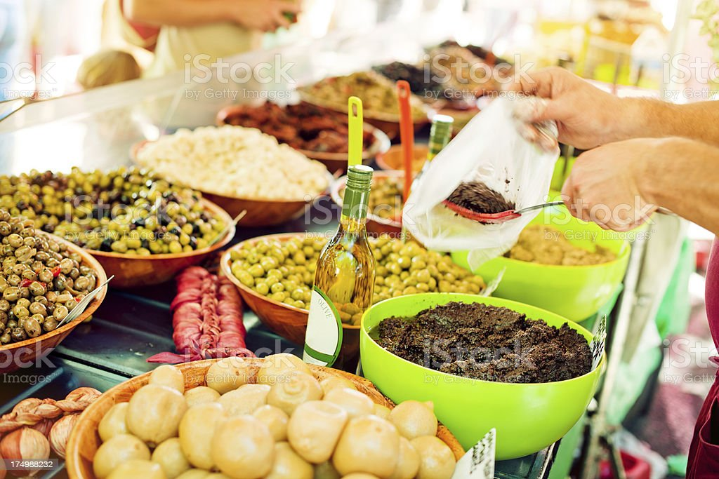 Olives seller stock photo