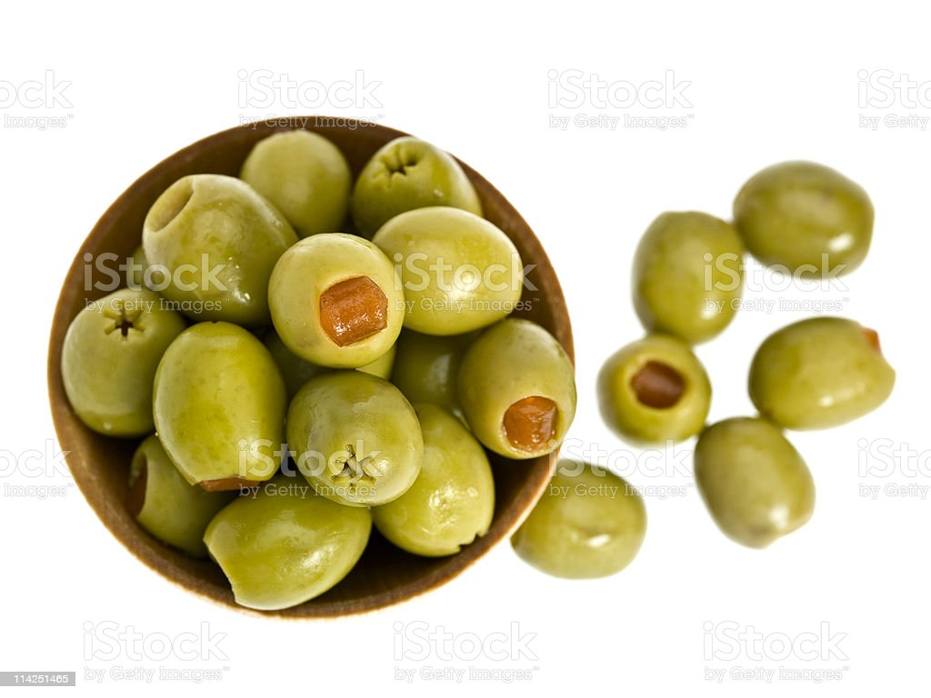 Olives Stuffed with pimentos stock photo