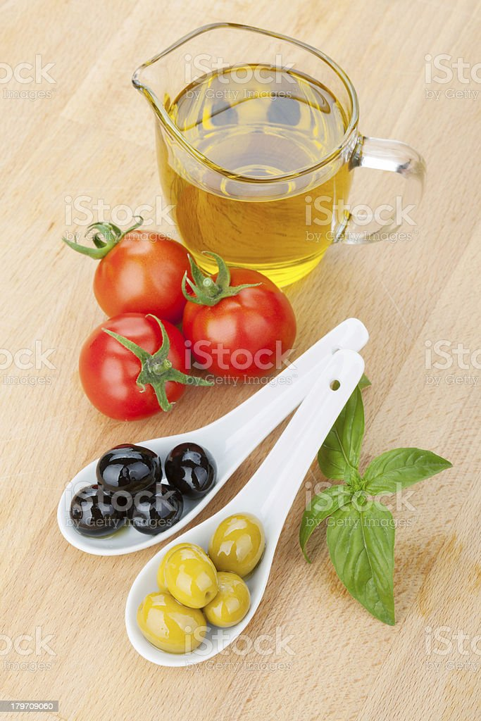 Olives, tomatoes and basil royalty-free stock photo