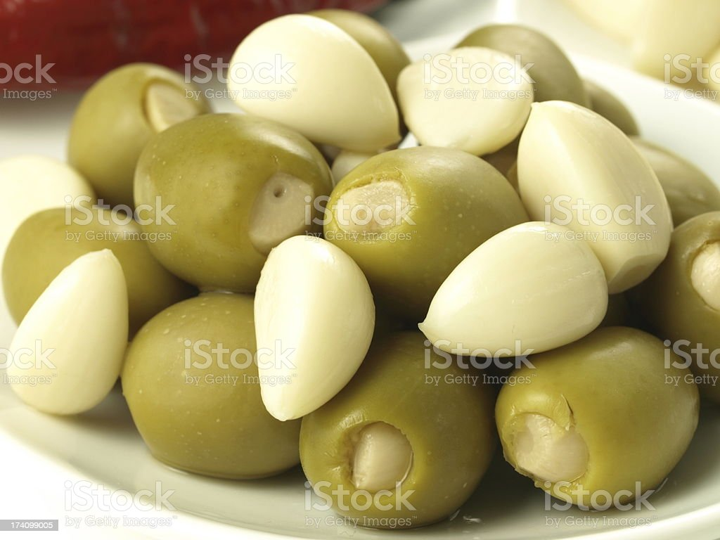 Olives with garlic royalty-free stock photo