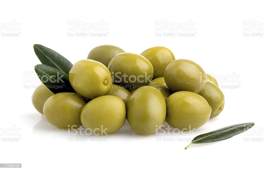 Olives with leaves. royalty-free stock photo