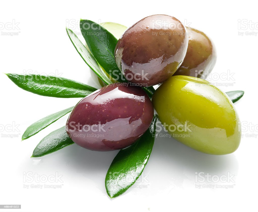 Olives with leaves. stock photo
