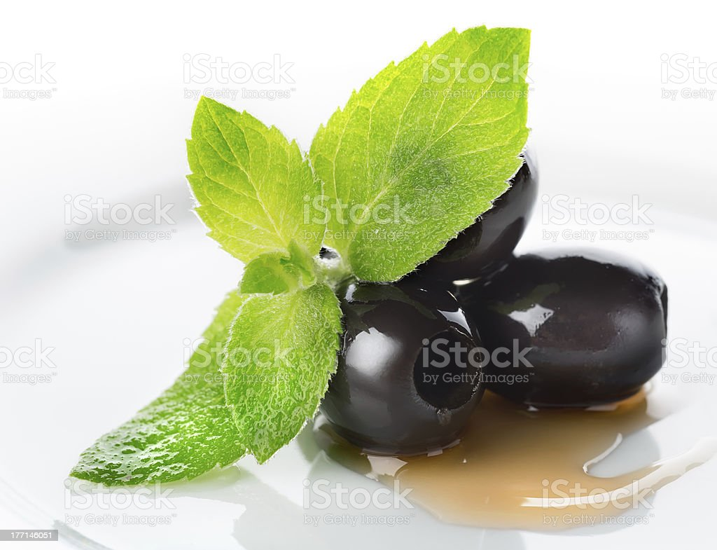 Olives with mint and sauce royalty-free stock photo