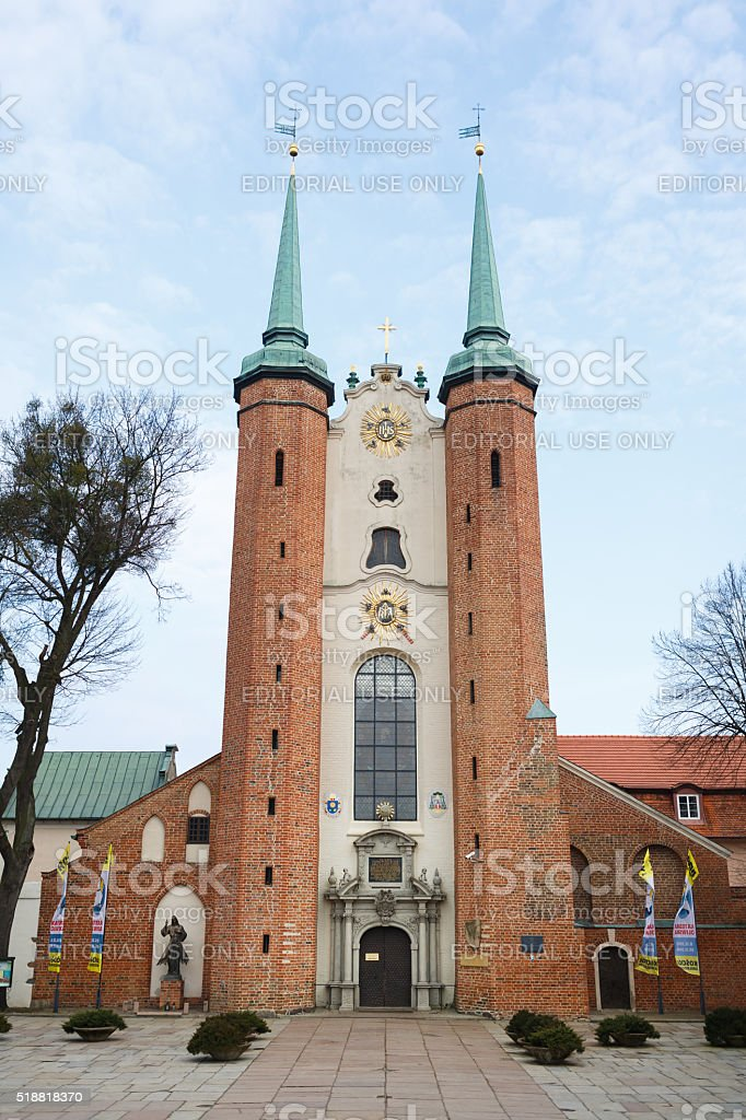 Oliwa Cathedral facade stock photo