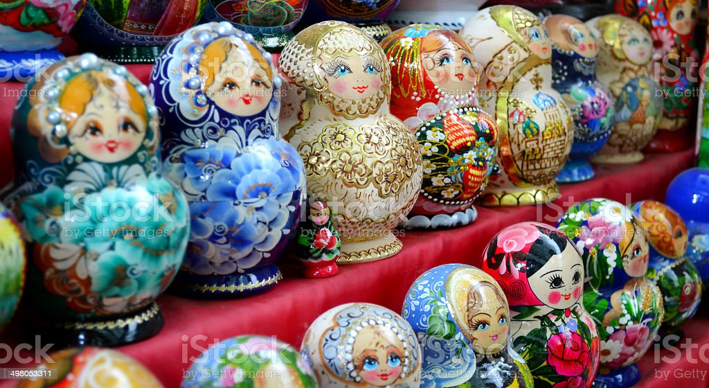 ?ollection of colorful wooden matryoshkas royalty-free stock photo