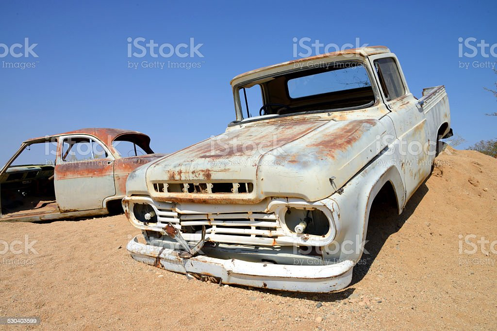 Oltimer in desert, Namib, Namiba stock photo