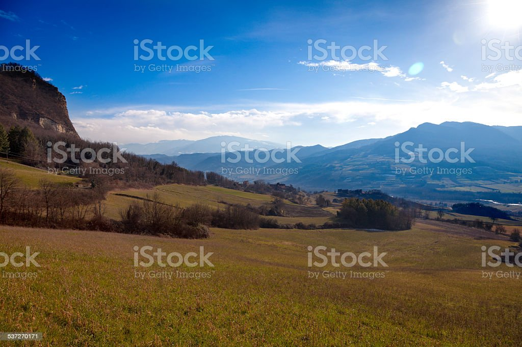Oltrepo backlight winter panorama. Color image stock photo
