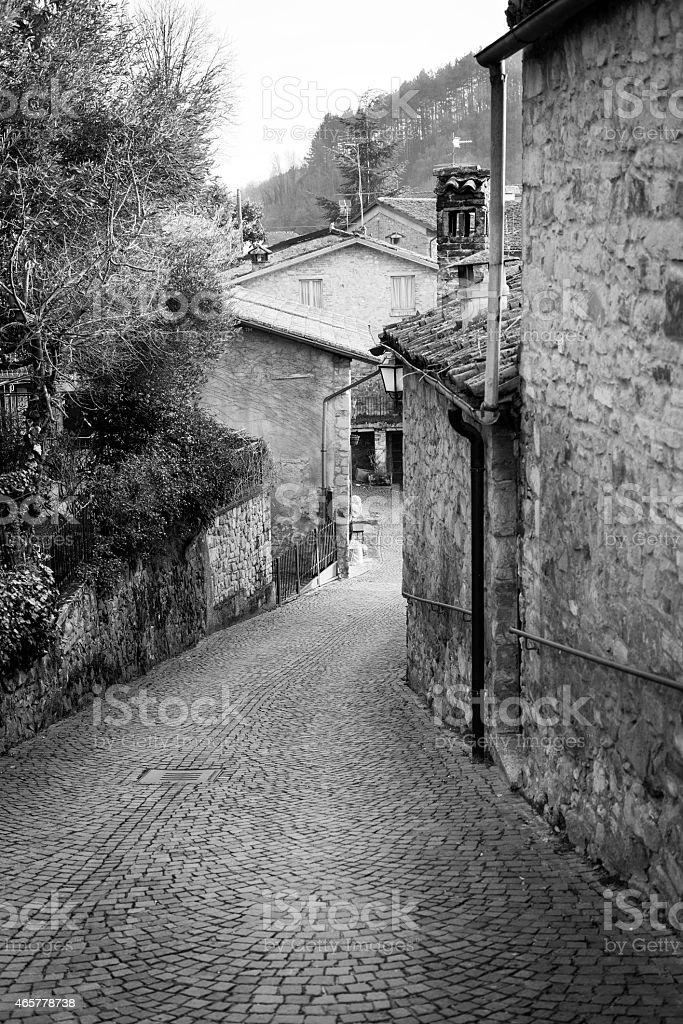 Oltrepo old village city centre. Black and white photo stock photo