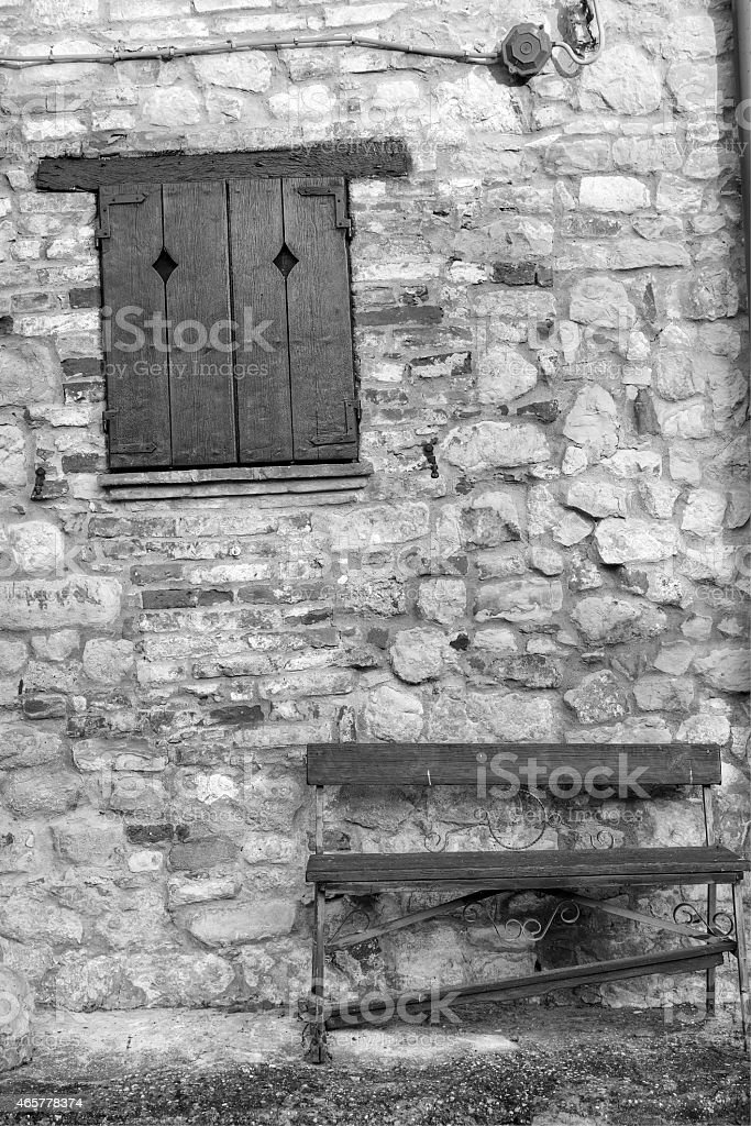 Oltrepo old village, detail. Black and white photo stock photo